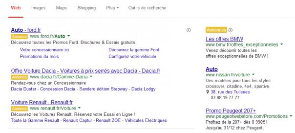 Google AdWords : Label Annonce jaune pour identifier les publicités