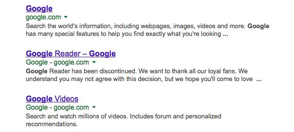 Google : Nom du site & domaine