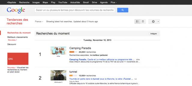 Google : Tendances - Recherches du moment