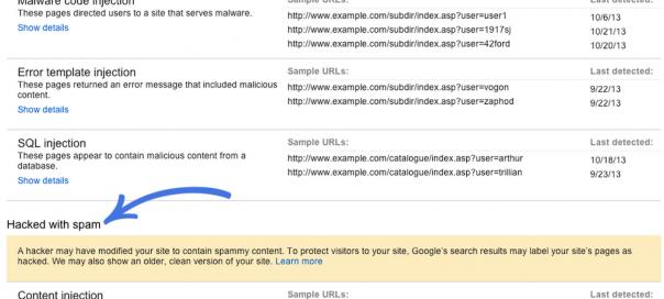 Google Webmaster Tools : Problèmes de sécurité détectés
