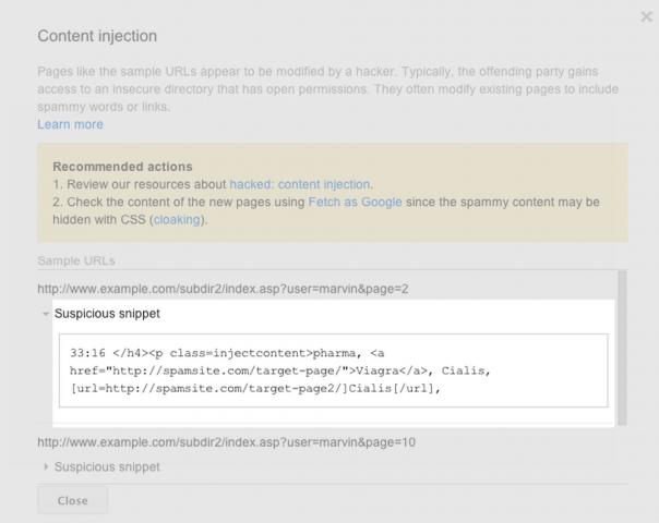 Google Webmaster Tools : Problèmes de sécurité - Extraits de code