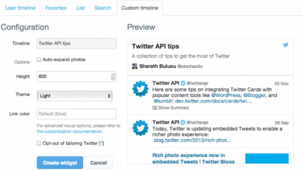 Twitter : Timeline personnalisée - Création de widget