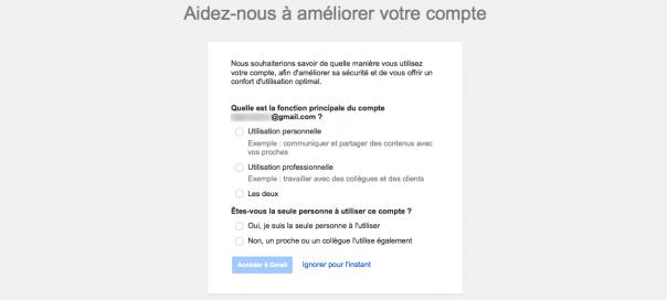 Gmail : Aidez-nous à améliorer votre compte