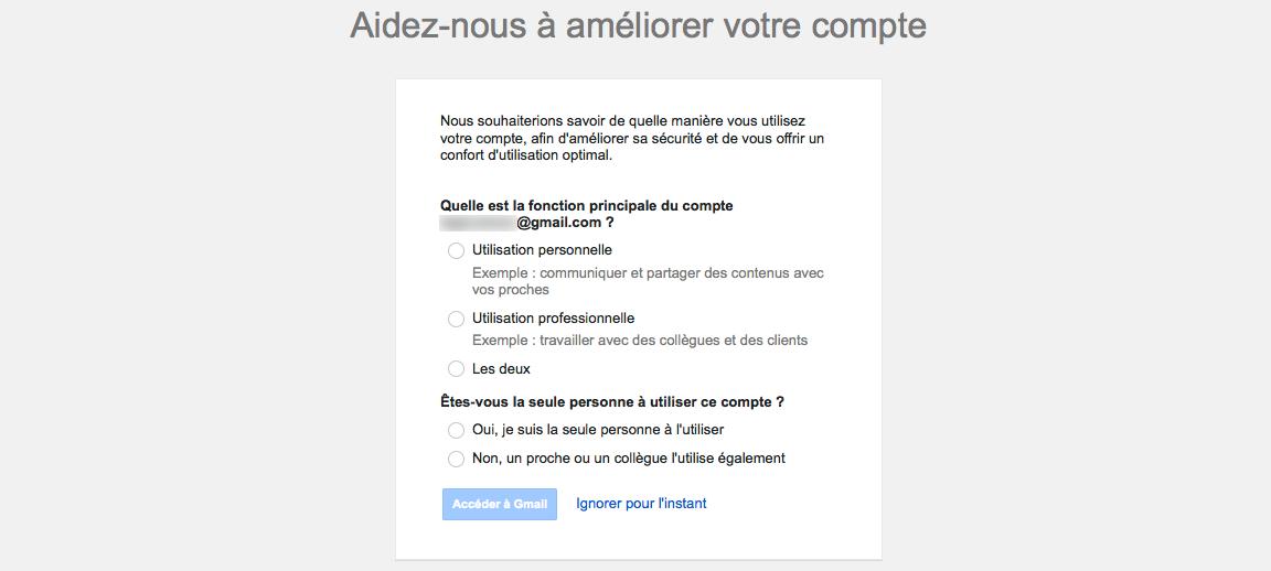 Gmail : Améliorer le compte