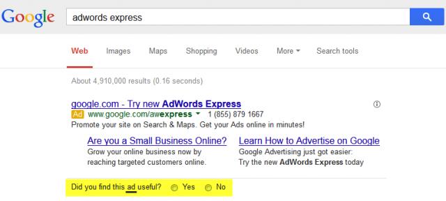 Google AdWords : Cette annonce est-elle utile ?