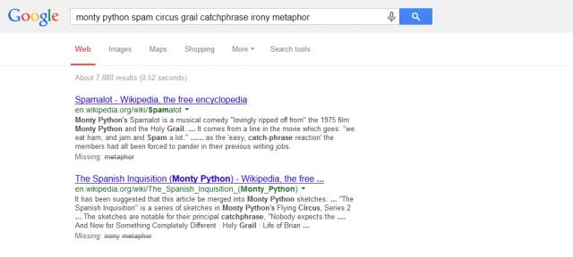 Google : Mots clés de recherche ignorés