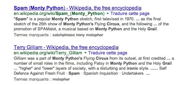 Google : Mots clés et termes manquants