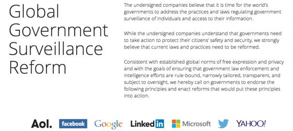 Surveillance : Les géants du web réclament une réforme