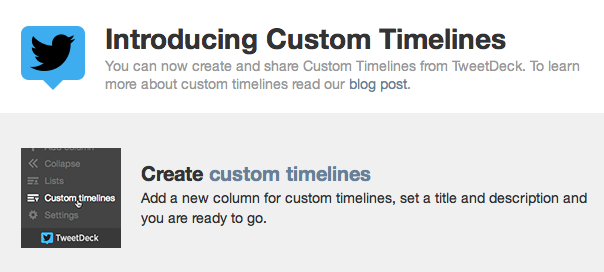 TweetDeck : Custom timelines