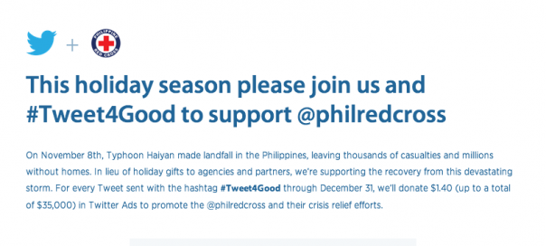 Twitter #Tweet4Good : 1.4$ par tweet pour soutenir les Philippines