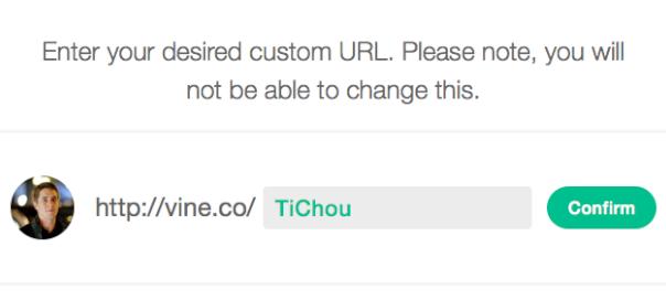 Vine : URL personnalisée - Choix