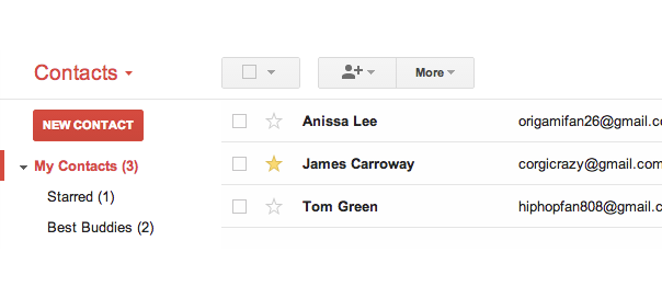 Gmail & Android : Contacts favoris