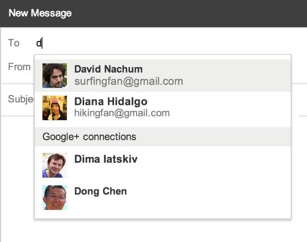 Gmail : Autocompletion Google+