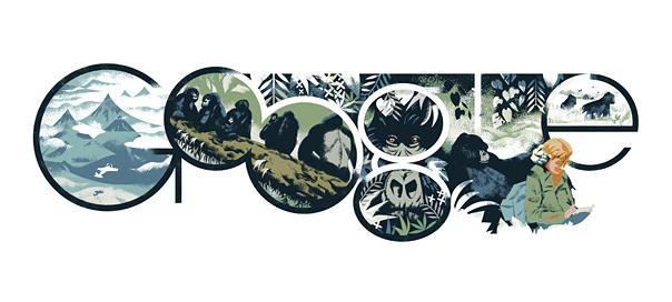 Google : Dian Fossey et ses gorilles en doodle