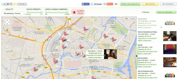 La Carte des Colocs : Trouver les appartements disponibles