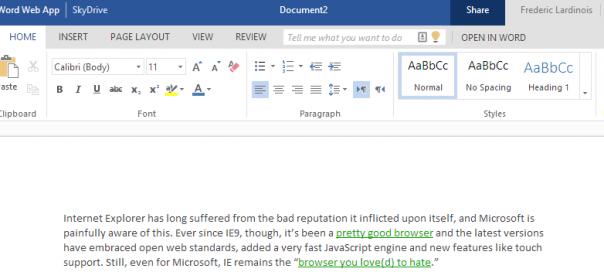 Office Web App : Un pas vers le flat design