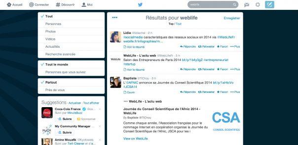Twitter : Filtres de recherche
