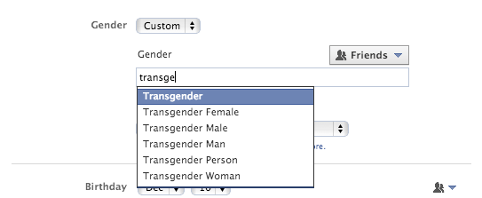 Facebook : Choix du genre