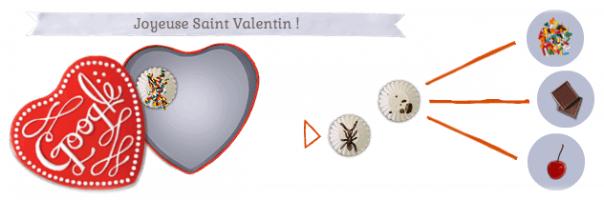 Google : Doodle Joyeuse Saint Valentin - Ouverture de la boîte de chocolats