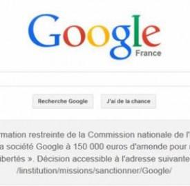 Google France : Imposé d'afficher sa condamnation sur sa une