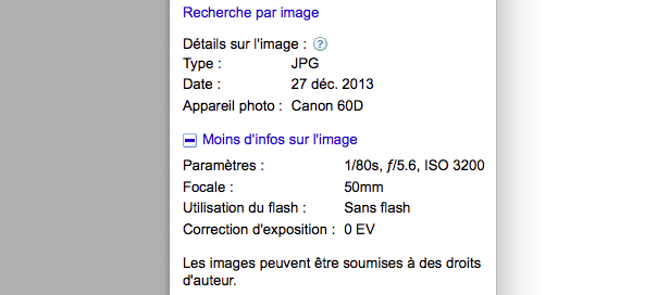 Google : Métadonnées EXIF de photos