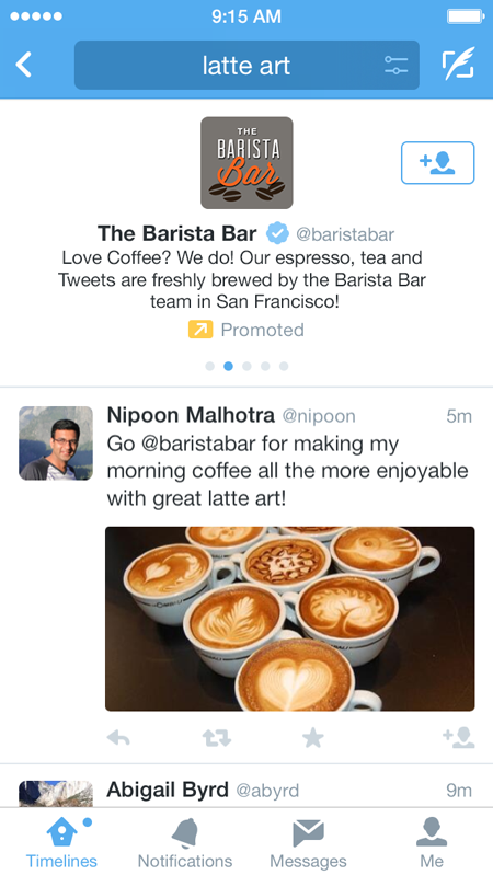 Twitter : Comptes sponsorisés dans la recherche