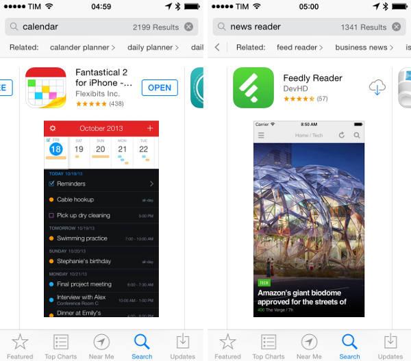 suggestions de recherche app store