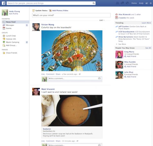 Facebook : Ancien flux d'actualité en détails