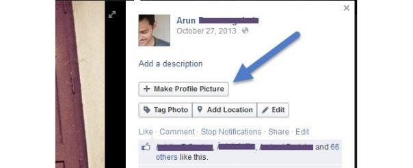 Facebook : Bouton Faire une photo de profil