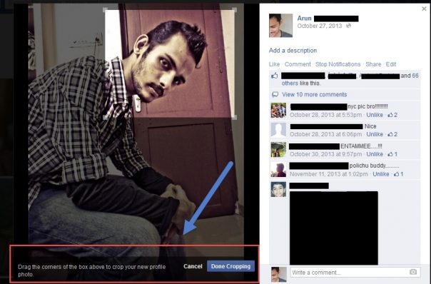 Facebook : Bouton Faire une photo de profil crop
