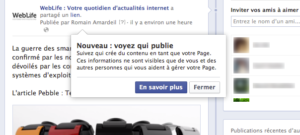 Page Facebook : Identification des administrateurs