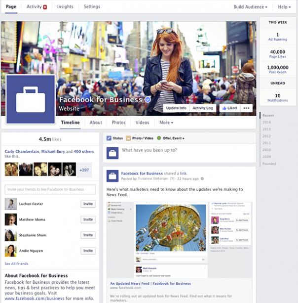 Pages Facebook : Nouveau design