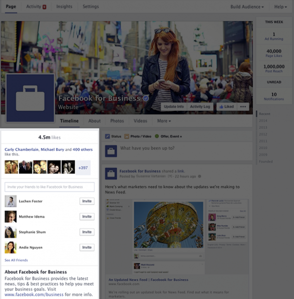 Pages Facebook : Nouveau design - Informations