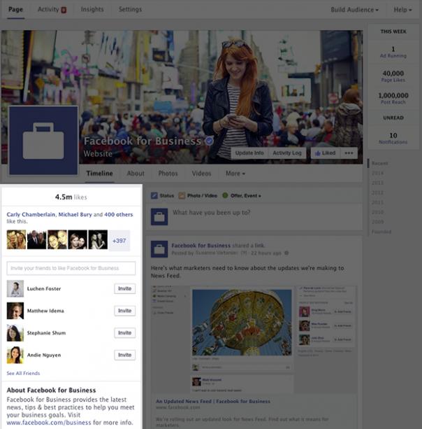 Pages Facebook : Nouveau design - Informations