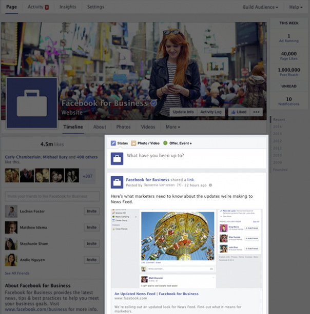 Pages Facebook : Nouveau design - Posts