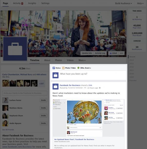Pages Facebook : Nouveau design - Posts