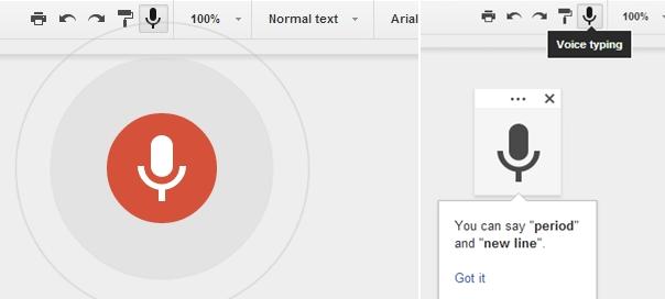 Google Drive : Dictée de documents par reconnaissance vocale