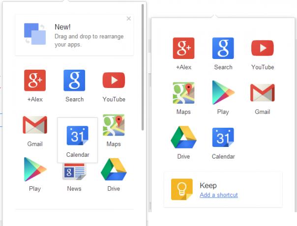 Google : Personnalisation du menu de navigation