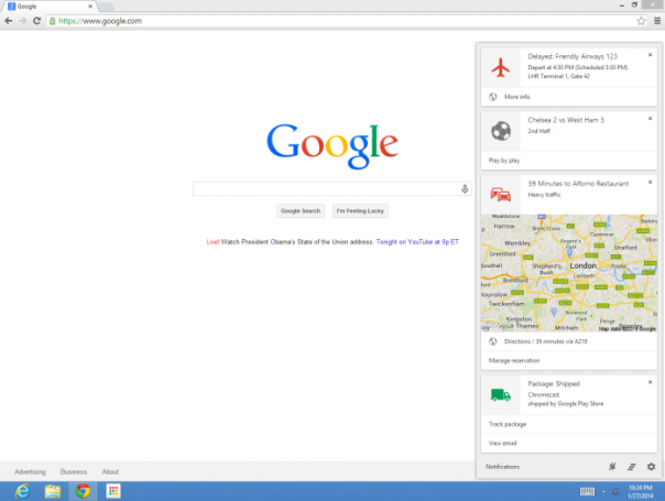 Google Now dans Google Chrome