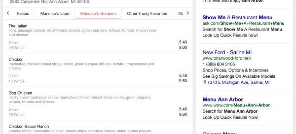 Google : Les menus des restaurants dans les résultats de recherche