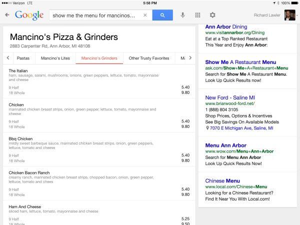 Menu restaurant Google
