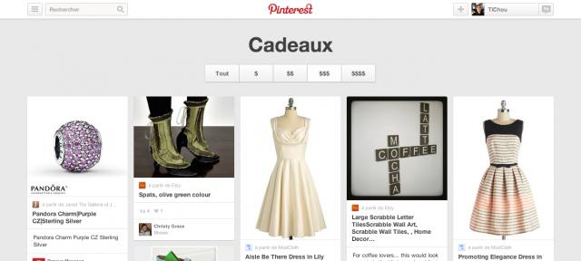 Pinterest : Cadeaux - Flux de produits