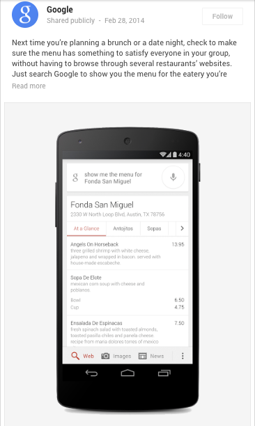 Menus des restaurants Google
