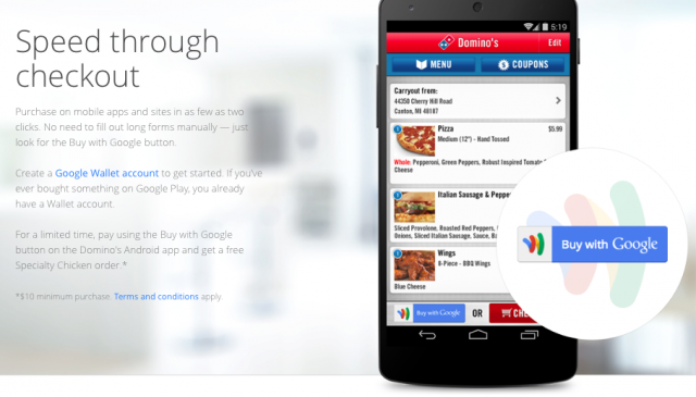 dominos pizza google wallet