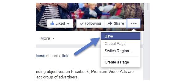 Facebook : Bouton Save pour les pages & évènements