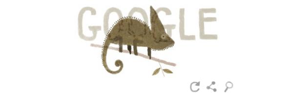 Google : Doodle Jour de la Terre 2014 - Caméléon casqué
