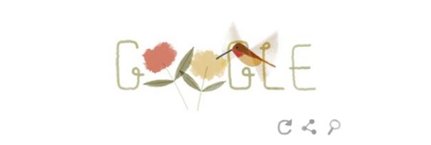 Google : Doodle Jour de la Terre 2014 - Colibri roux