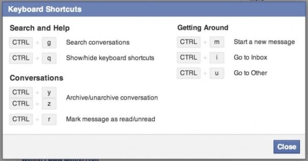 Facebook : Raccourcis clavier