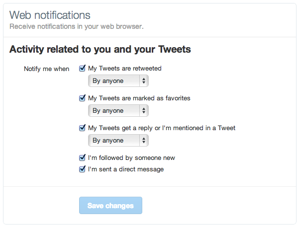 Twitter : Notifications web - Configuration