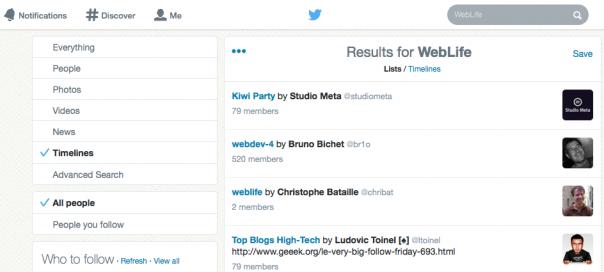 Twitter : Recherche au sein des timelines & listes
